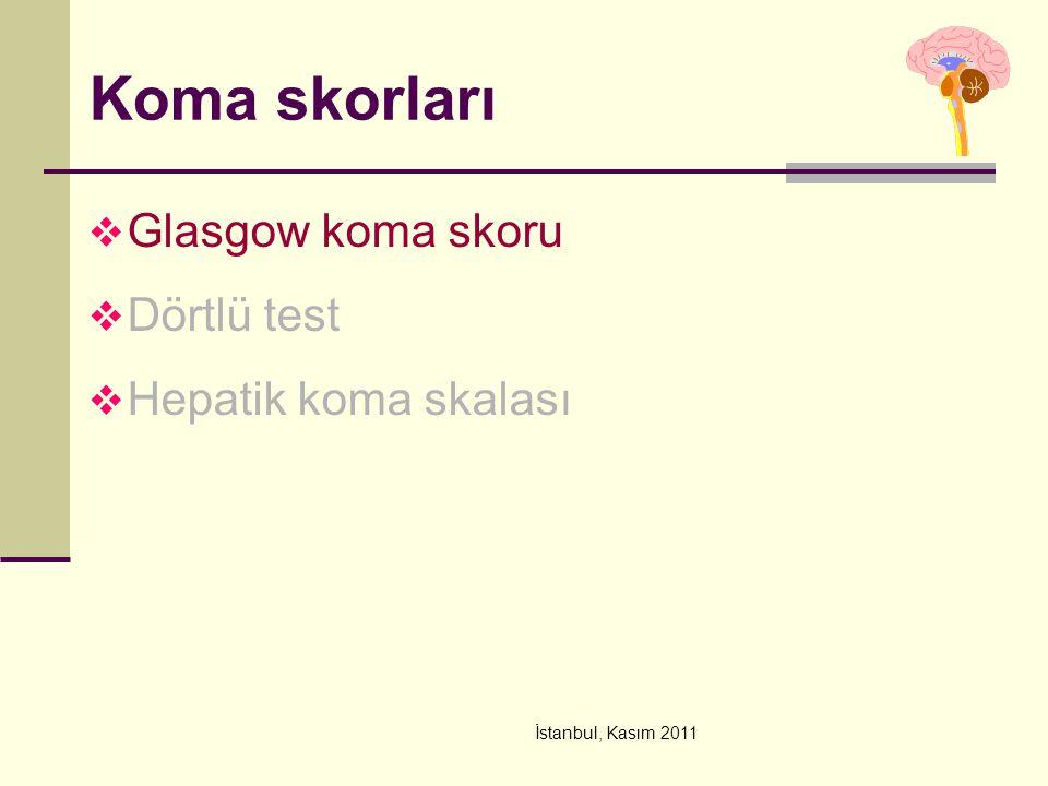 Koma skorları Glasgow koma skoru Dörtlü test Hepatik koma skalası