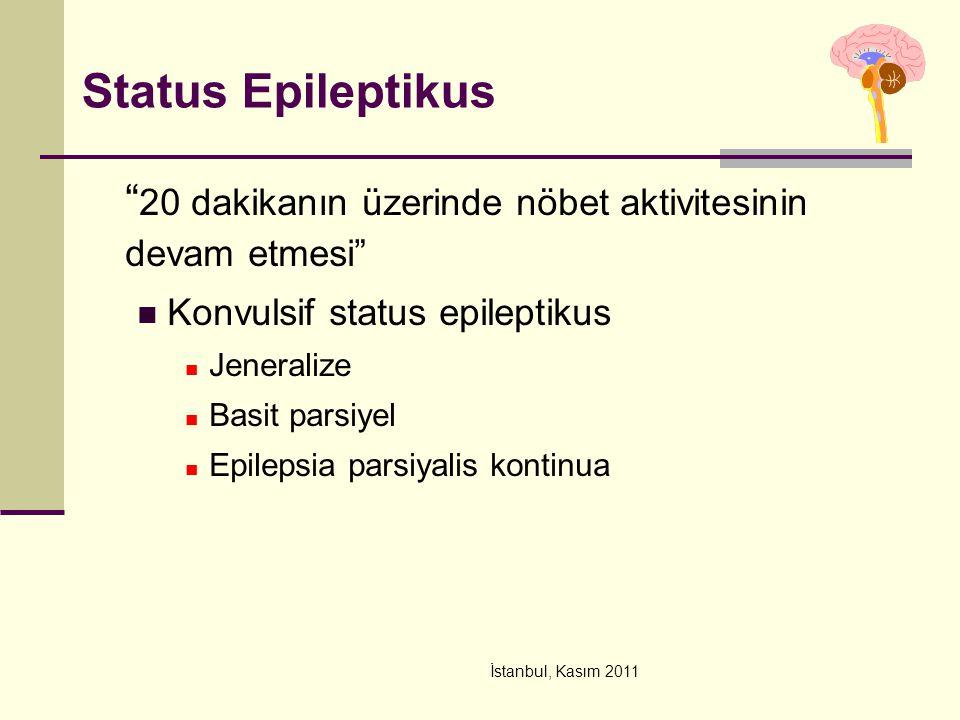 Status Epileptikus 20 dakikanın üzerinde nöbet aktivitesinin devam etmesi Konvulsif status epileptikus.