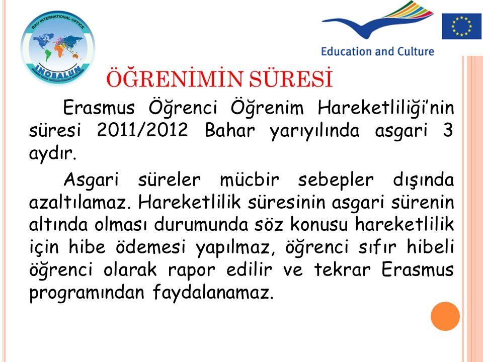 ÖĞRENİMİN SÜRESİ Erasmus Öğrenci Öğrenim Hareketliliği'nin süresi 2011/2012 Bahar yarıyılında asgari 3 aydır.