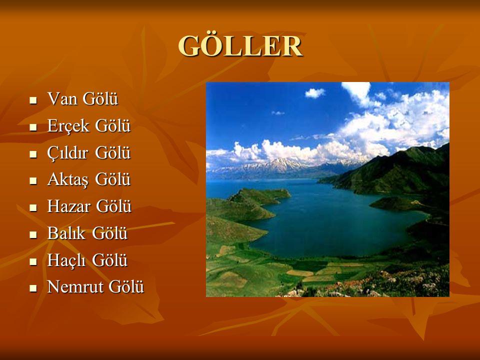 GÖLLER Van Gölü Erçek Gölü Çıldır Gölü Aktaş Gölü Hazar Gölü