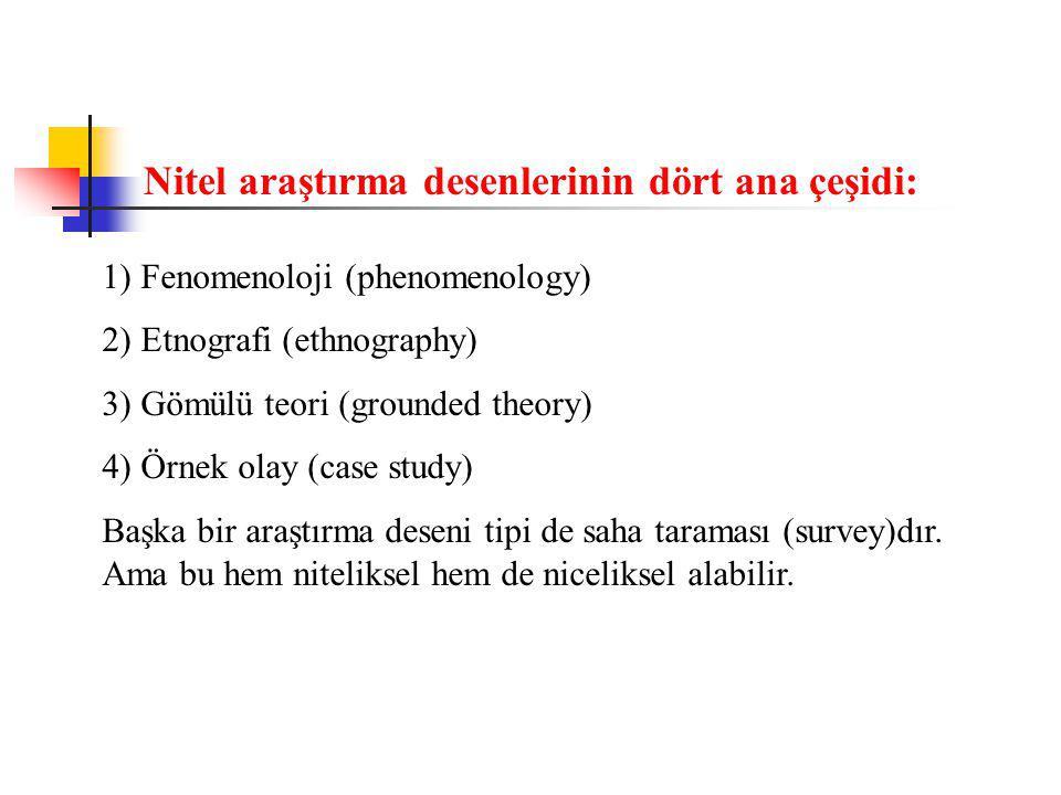 Nitel araştırma desenlerinin dört ana çeşidi: