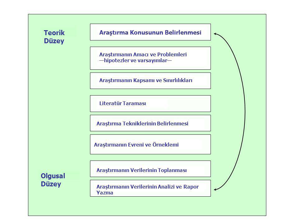 Teorik Düzey Olgusal Düzey Araştırma Konusunun Belirlenmesi