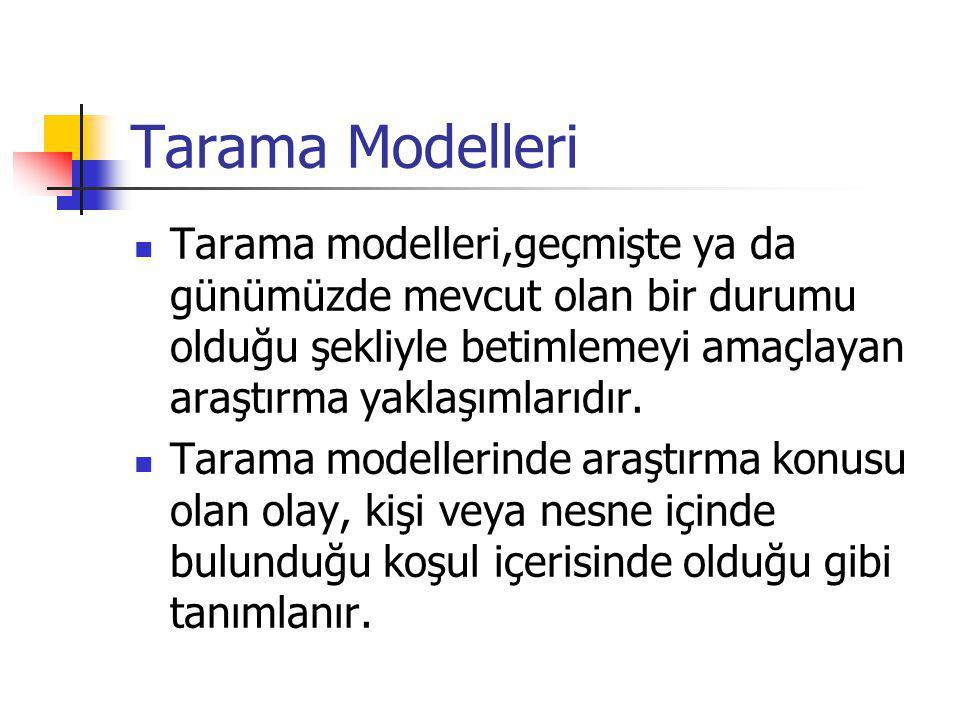 Tarama Modelleri Tarama modelleri,geçmişte ya da günümüzde mevcut olan bir durumu olduğu şekliyle betimlemeyi amaçlayan araştırma yaklaşımlarıdır.