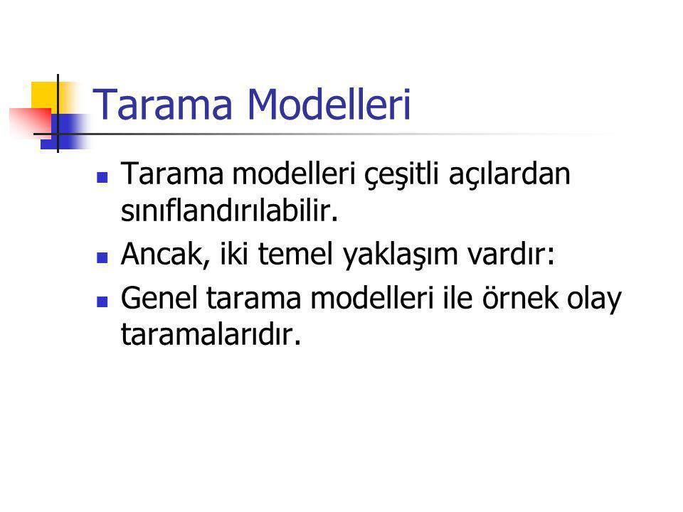 Tarama Modelleri Tarama modelleri çeşitli açılardan sınıflandırılabilir. Ancak, iki temel yaklaşım vardır: