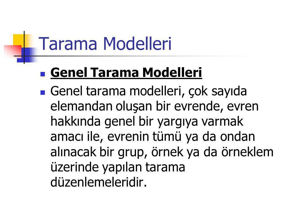Tarama Modelleri Genel Tarama Modelleri