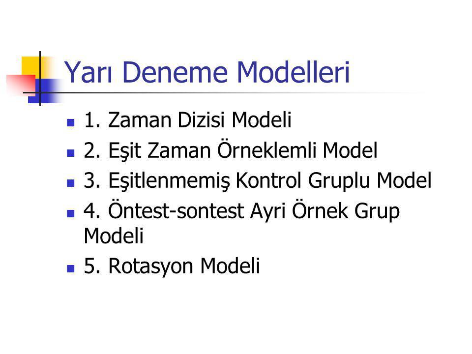 Yarı Deneme Modelleri 1. Zaman Dizisi Modeli