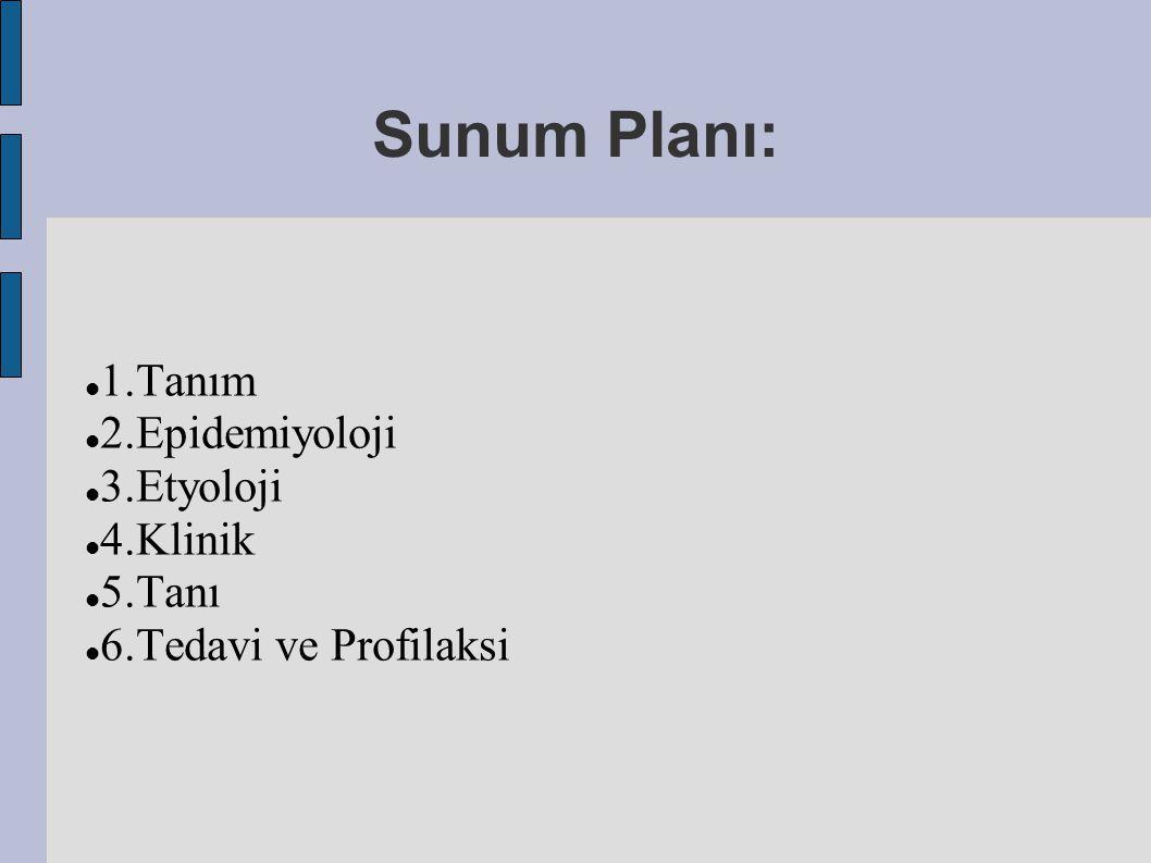 Sunum Planı: 1.Tanım 2.Epidemiyoloji 3.Etyoloji 4.Klinik 5.Tanı