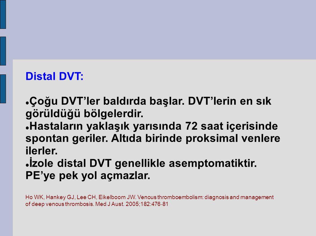 �Çoğu DVT'ler baldırda başlar. DVT'lerin en sık görüldüğü bölgelerdir.