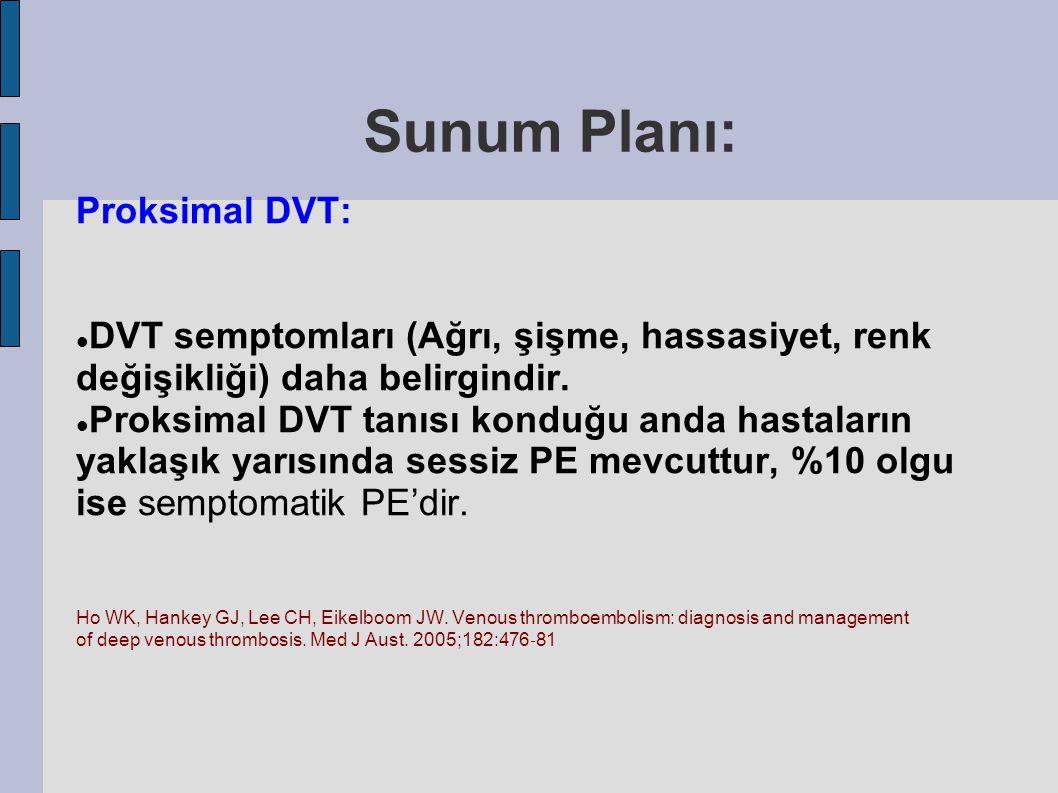 Sunum Planı: Proksimal DVT: