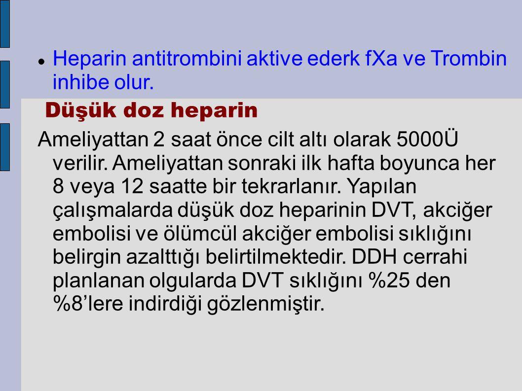 Heparin antitrombini aktive ederk fXa ve Trombin inhibe olur.