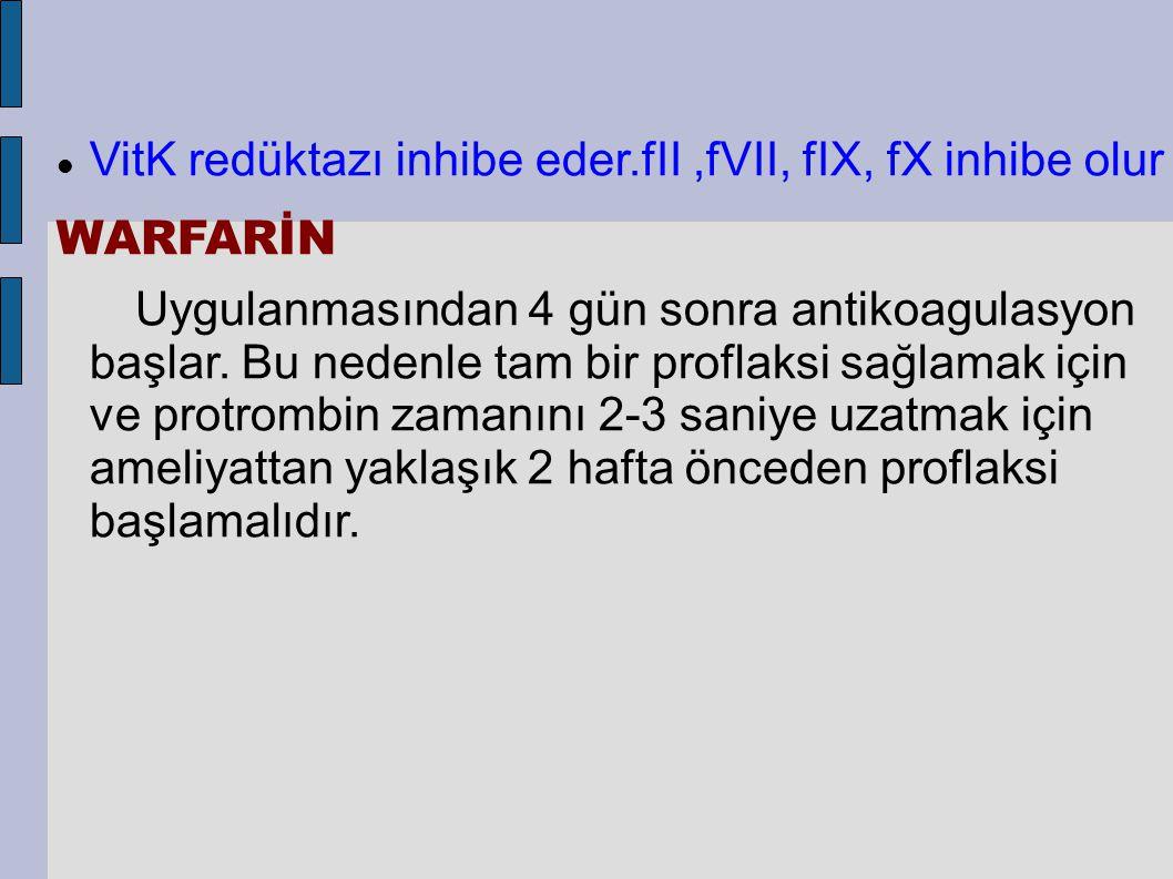 VitK redüktazı inhibe eder.fII ,fVII, fIX, fX inhibe olur