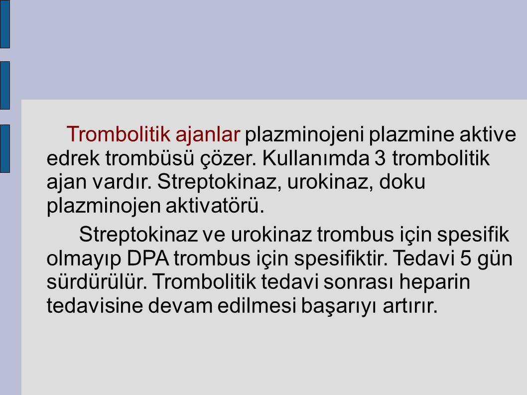 Trombolitik ajanlar plazminojeni plazmine aktive edrek trombüsü çözer