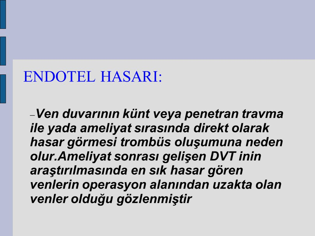 ENDOTEL HASARI: