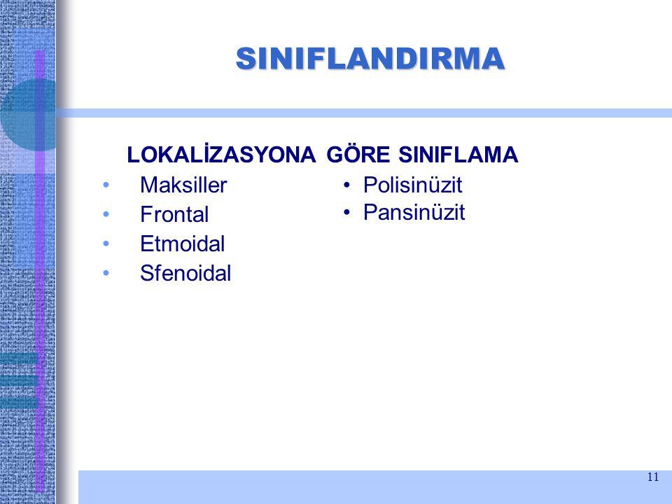 SINIFLANDIRMA LOKALİZASYONA GÖRE SINIFLAMA Maksiller Frontal