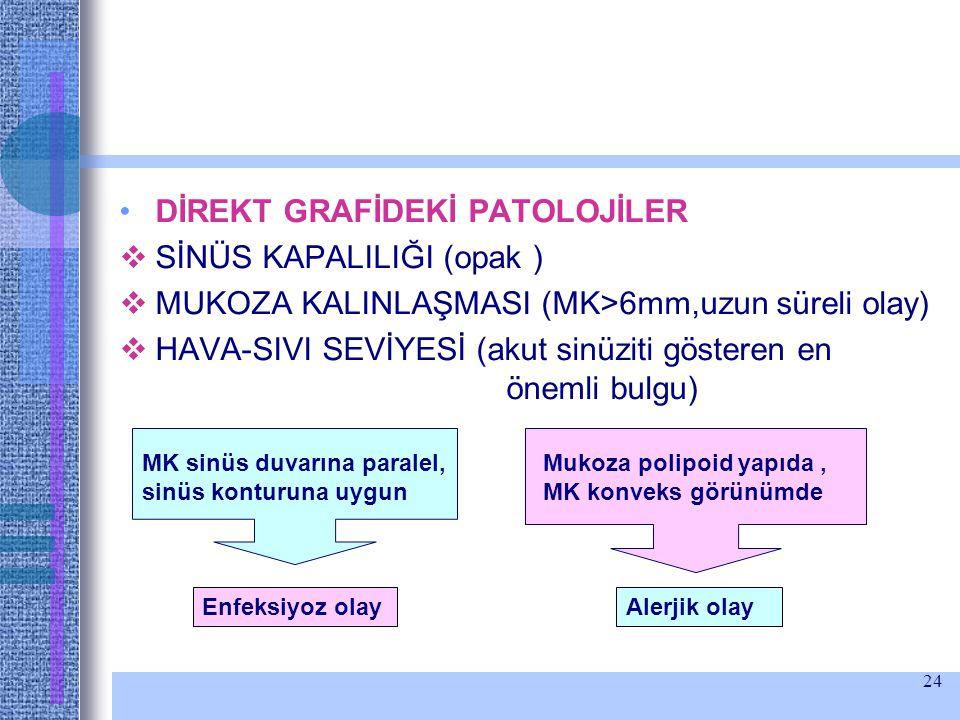 DİREKT GRAFİDEKİ PATOLOJİLER SİNÜS KAPALILIĞI (opak )