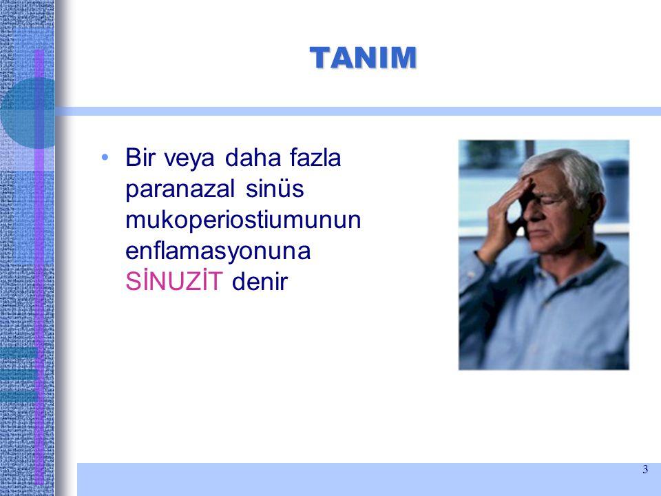 TANIM Bir veya daha fazla paranazal sinüs mukoperiostiumunun enflamasyonuna SİNUZİT denir
