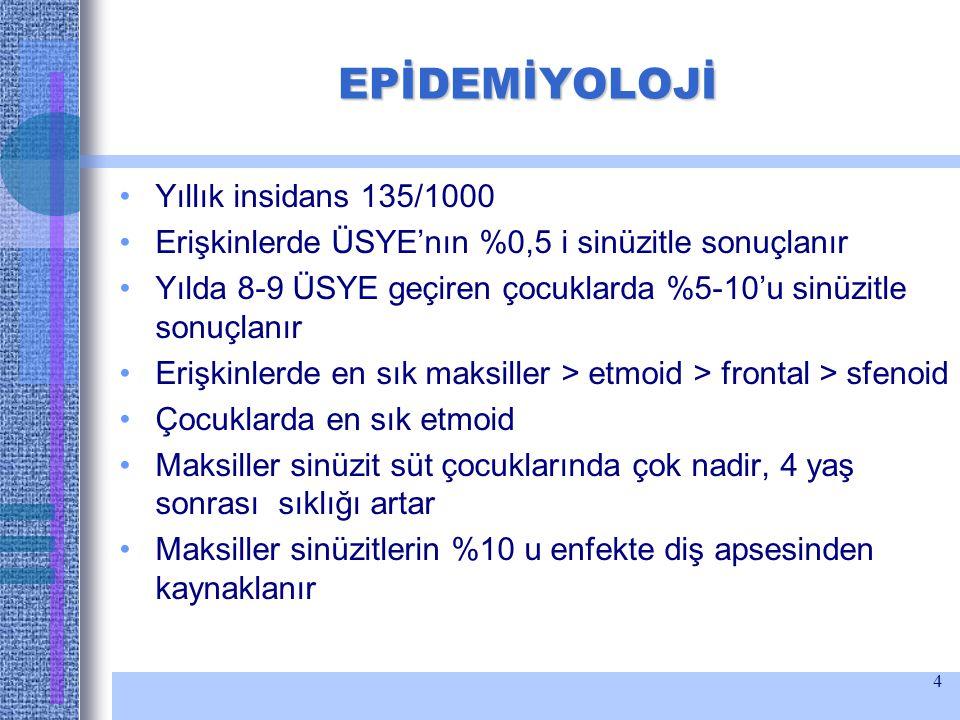 EPİDEMİYOLOJİ Yıllık insidans 135/1000