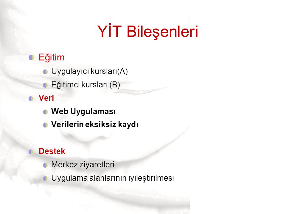 YİT Bileşenleri Eğitim Uygulayıcı kursları(A) Eğitimci kursları (B)