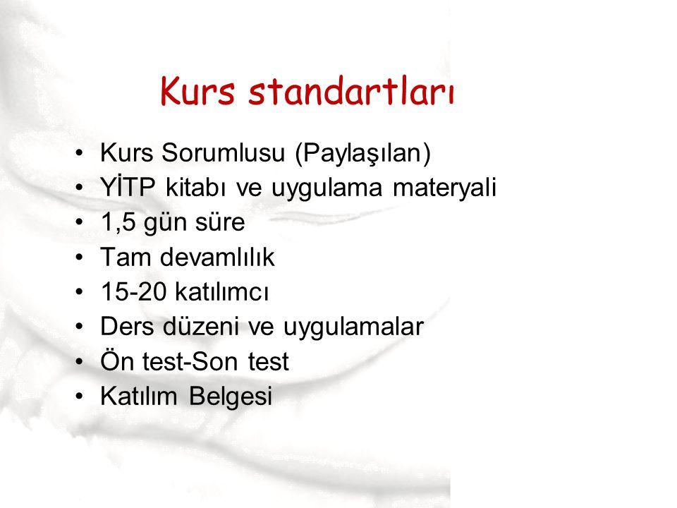 Kurs standartları Kurs Sorumlusu (Paylaşılan)