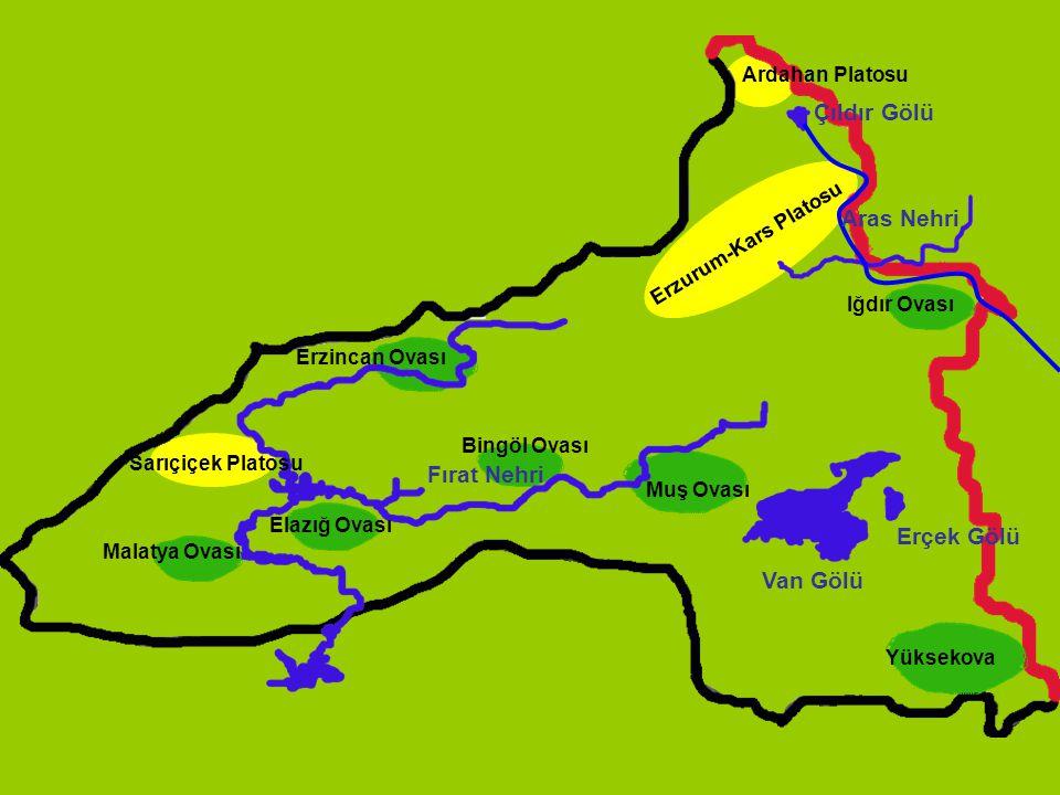 Çıldır Gölü Aras Nehri Fırat Nehri Erçek Gölü Van Gölü