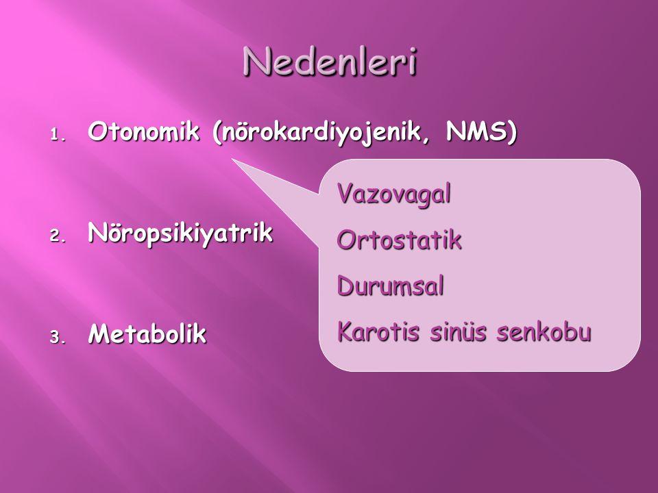 Nedenleri Otonomik (nörokardiyojenik, NMS) Nöropsikiyatrik Vazovagal