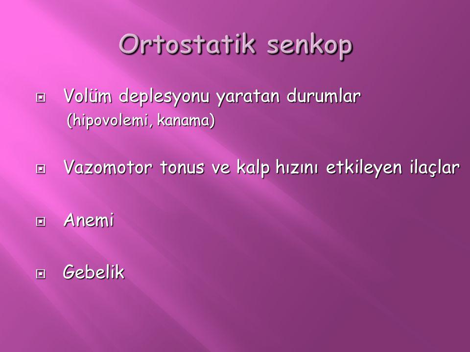Ortostatik senkop Volüm deplesyonu yaratan durumlar