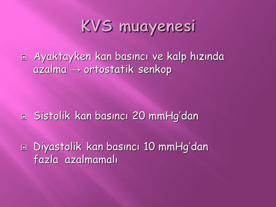 KVS muayenesi Ayaktayken kan basıncı ve kalp hızında azalma → ortostatik senkop. Sistolik kan basıncı 20 mmHg'dan.