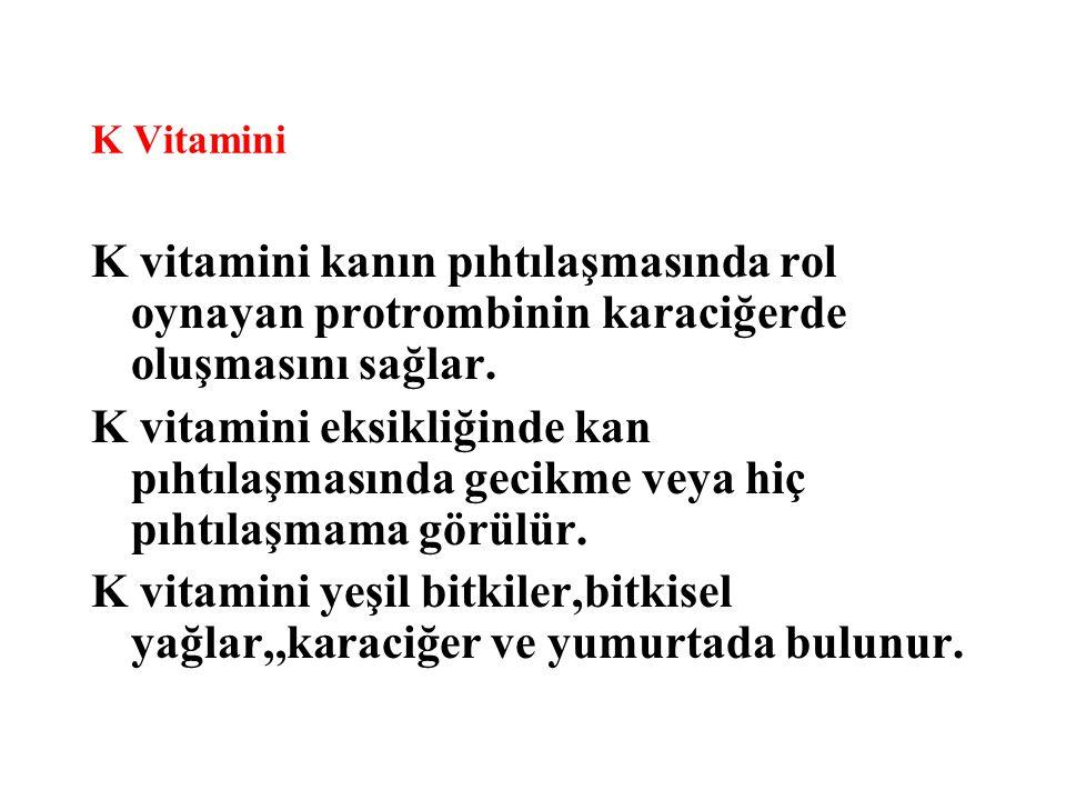 K Vitamini K vitamini kanın pıhtılaşmasında rol oynayan protrombinin karaciğerde oluşmasını sağlar.