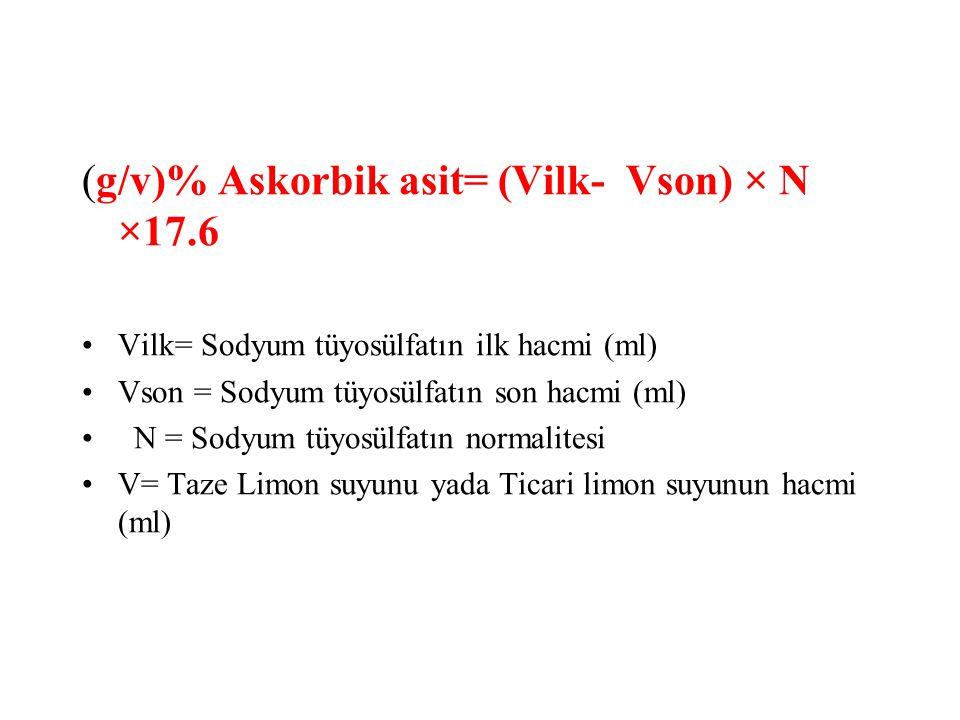 (g/v)% Askorbik asit= (Vilk- Vson) × N ×17.6