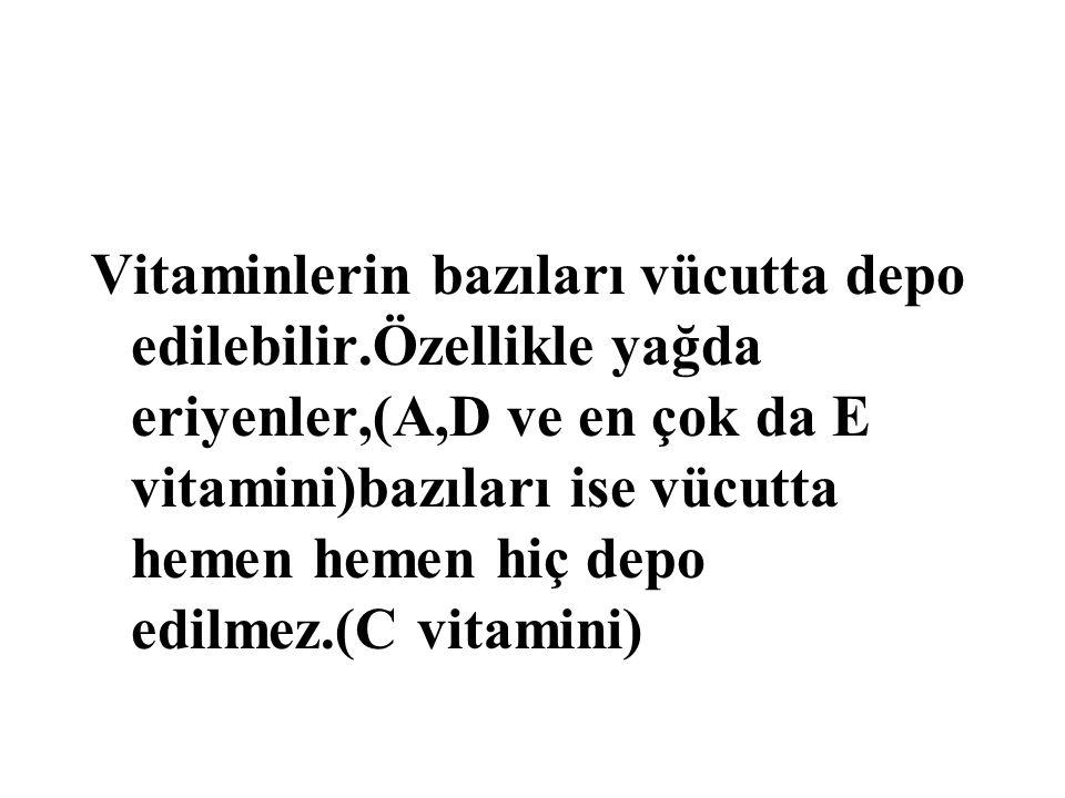 Vitaminlerin bazıları vücutta depo edilebilir
