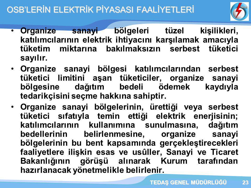 OSB'LERİN ELEKTRİK PİYASASI FAALİYETLERİ