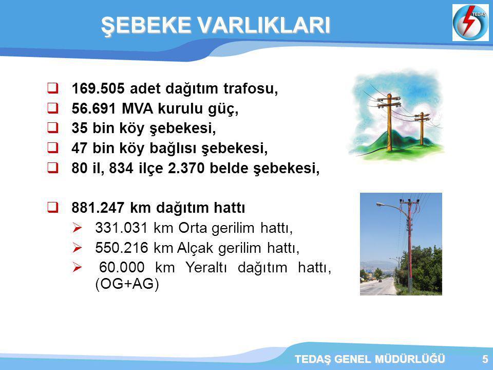 ŞEBEKE VARLIKLARI 169.505 adet dağıtım trafosu, 56.691 MVA kurulu güç,