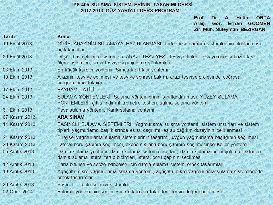 TYS-405 SULAMA SİSTEMLERİNİN TASARIMI DERSİ 2012-2013 GÜZ YARIYILI DERS PROGRAMI Prof.