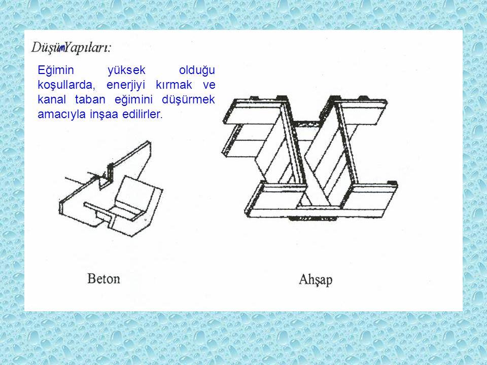 Düşü yapıları Eğimin yüksek olduğu koşullarda, enerjiyi kırmak ve kanal taban eğimini düşürmek amacıyla inşaa edilirler.