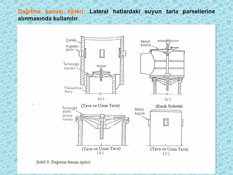 Dağıtma bacası tipleri: Lateral hatlardaki suyun tarla parsellerine alınmasında kullanılır.