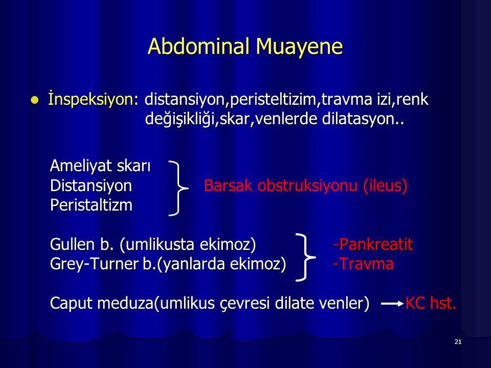 Abdominal Muayene İnspeksiyon: distansiyon,peristeltizim,travma izi,renk değişikliği,skar,venlerde dilatasyon..