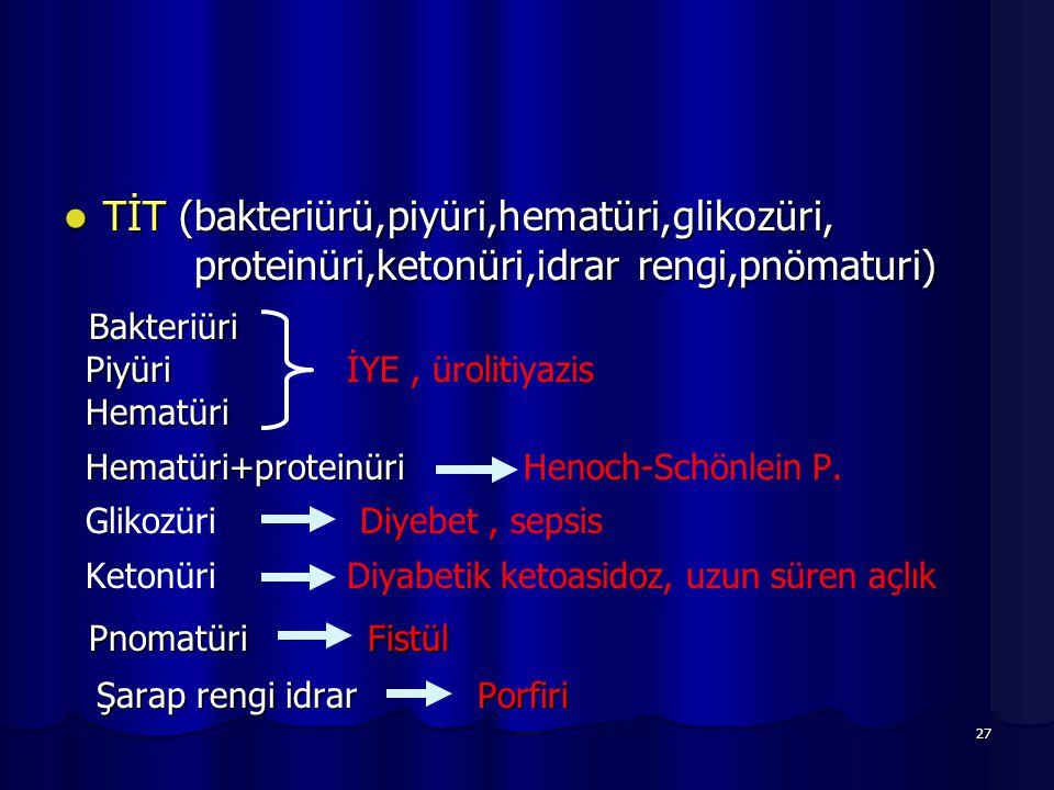TİT (bakteriürü,piyüri,hematüri,glikozüri,