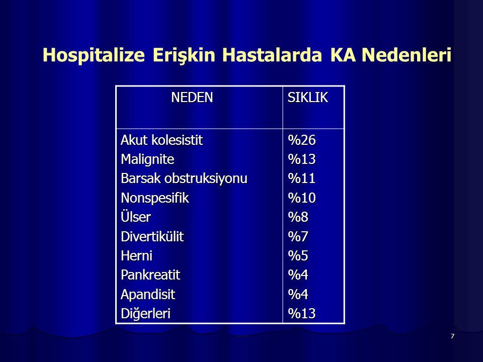 Hospitalize Erişkin Hastalarda KA Nedenleri