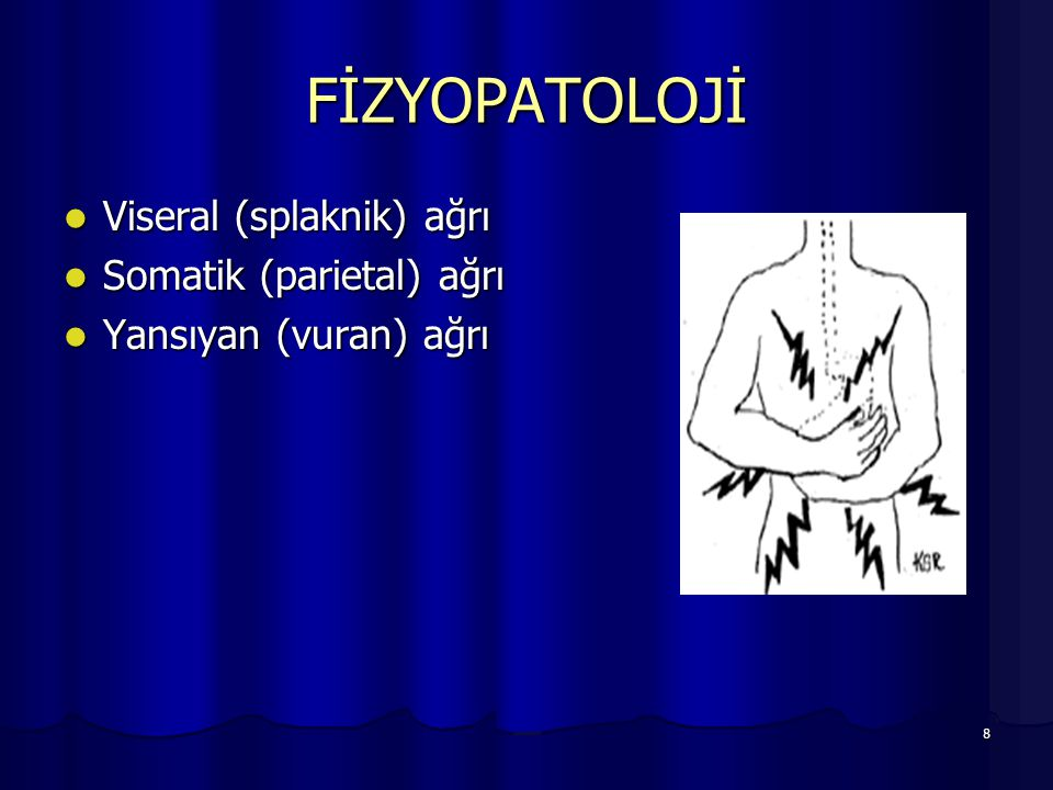 FİZYOPATOLOJİ Viseral (splaknik) ağrı Somatik (parietal) ağrı