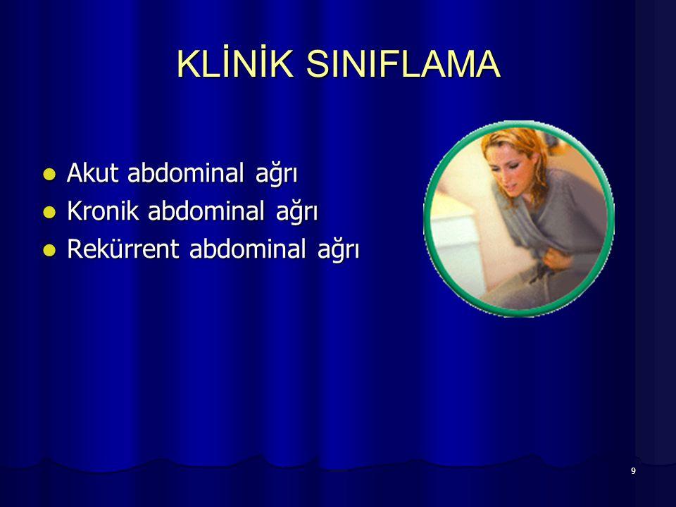 KLİNİK SINIFLAMA Akut abdominal ağrı Kronik abdominal ağrı