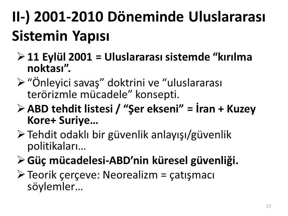 II-) 2001-2010 Döneminde Uluslararası Sistemin Yapısı