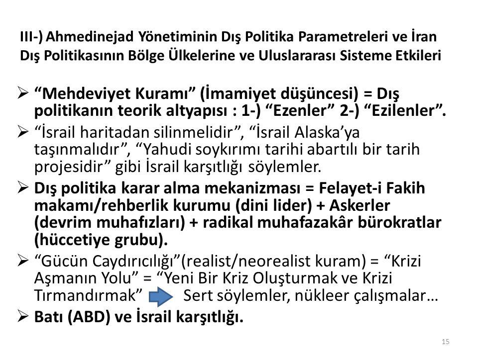 III-) Ahmedinejad Yönetiminin Dış Politika Parametreleri ve İran Dış Politikasının Bölge Ülkelerine ve Uluslararası Sisteme Etkileri