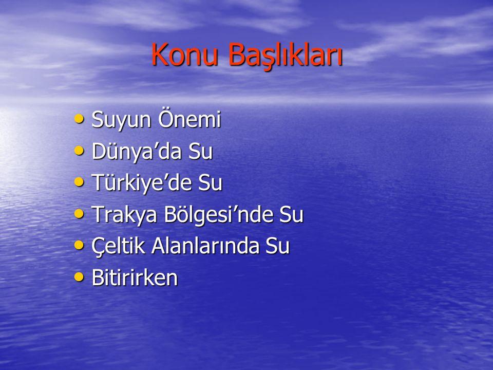 Konu Başlıkları Suyun Önemi Dünya'da Su Türkiye'de Su