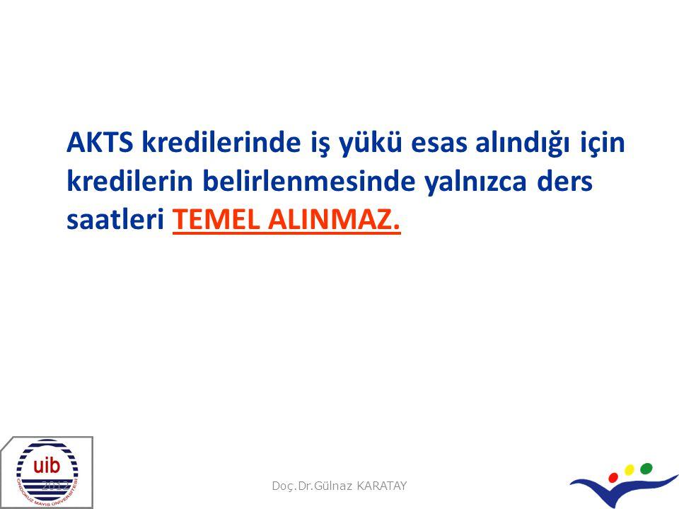 AKTS kredilerinde iş yükü esas alındığı için kredilerin belirlenmesinde yalnızca ders saatleri TEMEL ALINMAZ.