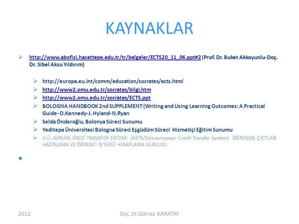 KAYNAKLAR http://www.abofisi.hacettepe.edu.tr/tr/belgeler/ECTS20_11_06.ppt#2 (Prof. Dr. Buket Akkoyunlu-Doç. Dr. Sibel Aksu Yıldırım)