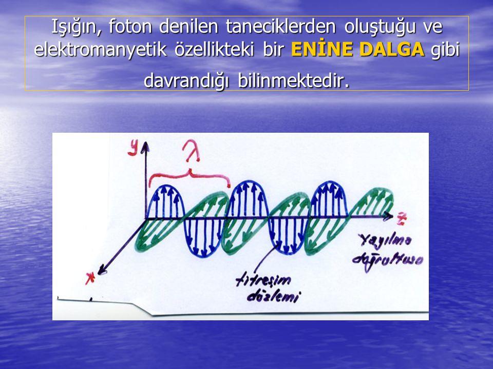 Işığın, foton denilen taneciklerden oluştuğu ve elektromanyetik özellikteki bir ENİNE DALGA gibi davrandığı bilinmektedir.