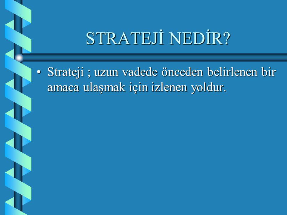 STRATEJİ NEDİR Strateji ; uzun vadede önceden belirlenen bir amaca ulaşmak için izlenen yoldur.
