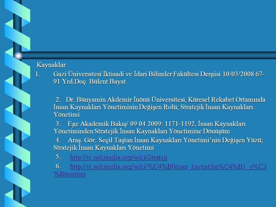 Kaynaklar 1. Gazi Üniversitesi İktisadi ve İdari Bilimler Fakültesi Dergisi 10/03/2008 67-91 Yrd.Doç. Bülent Bayat.