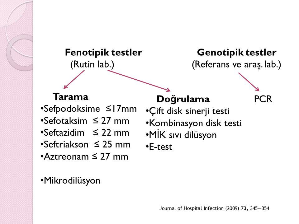Fenotipik testler Genotipik testler