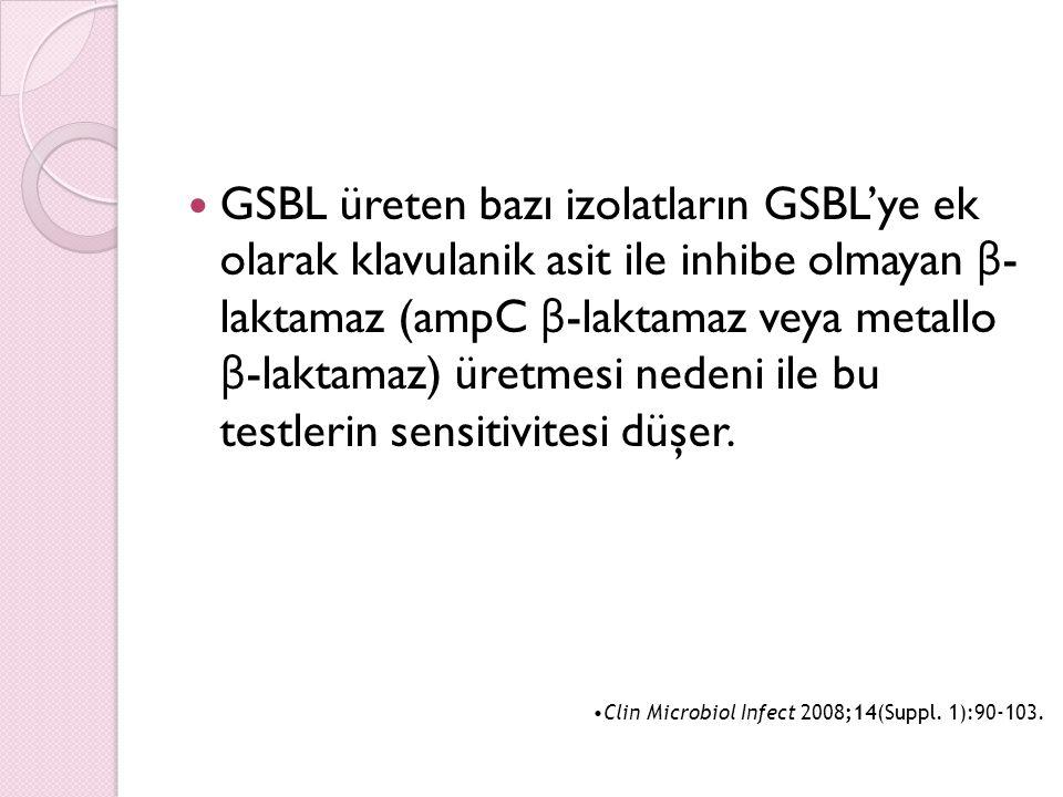 GSBL üreten bazı izolatların GSBL'ye ek olarak klavulanik asit ile inhibe olmayan β- laktamaz (ampC β-laktamaz veya metallo β-laktamaz) üretmesi nedeni ile bu testlerin sensitivitesi düşer.